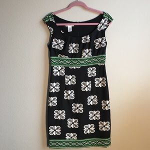 London Times Black and White Scoop Neck Dress